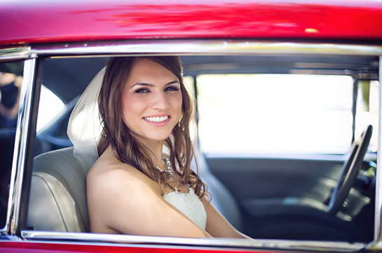 Bride in Old Restored Car