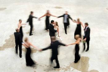 Circle around bride & groom - Marci Curtis