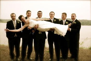 Groomsmen holding Bride - Kassie Baker Photography
