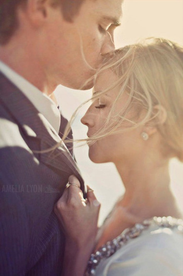 Forehead Kiss Wedding Photo