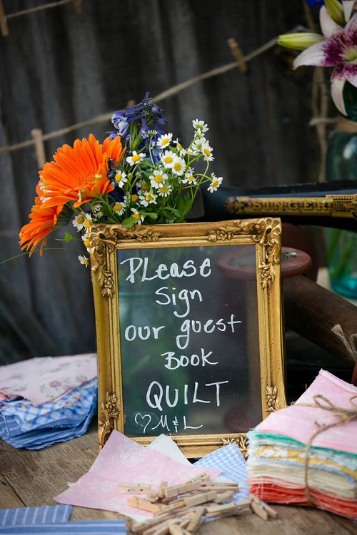 Please sign out wedding guest book quilt