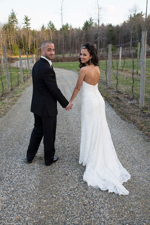 Bride & Groom at Vineyard Wedding