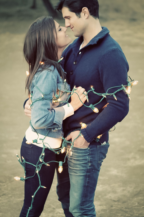 Winter Engagement Shoot Christmas Lights
