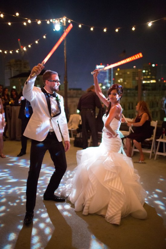 Bride and Groom with Light Sabers