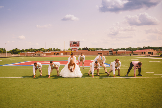 Football Wedding Party Pose
