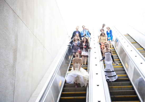 Bridal Pary on Escalator